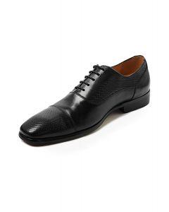 Panelled Black Oxford Shoe