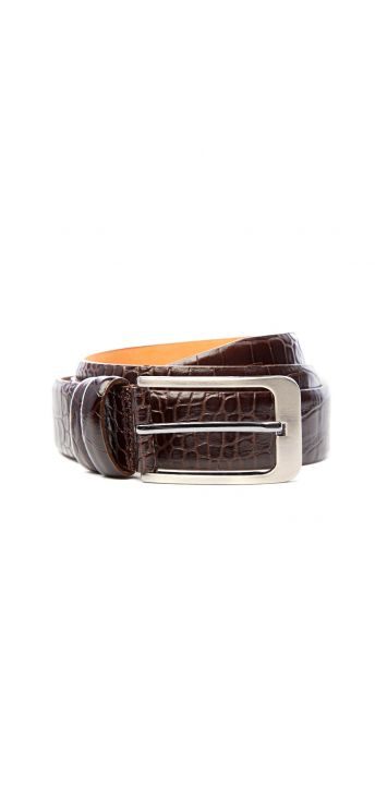 Crocodile Textured Brown Belt