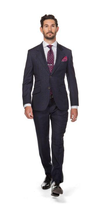 London Windowpane Navy Suit
