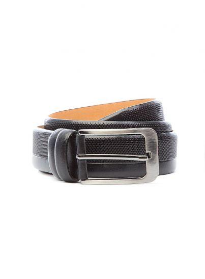 Textured Black Leather Belt