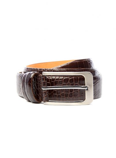 Crocodile Textured Brown Belt