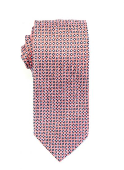 Coral with Sky Blue Micro Dot Tie