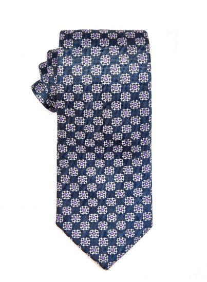 Marine Violet Geometric Tie