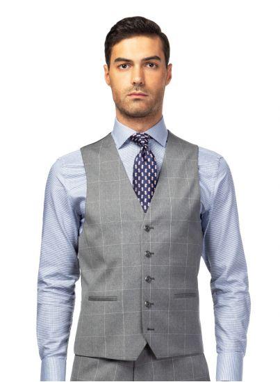 Light Grey Windowpane Check vest