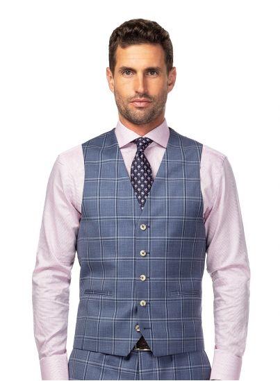 Light Blue Windowpane Vest