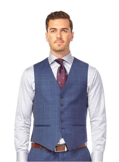 Morgan Denim Blue Check Vest