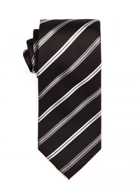 Black Steel Repp Tie